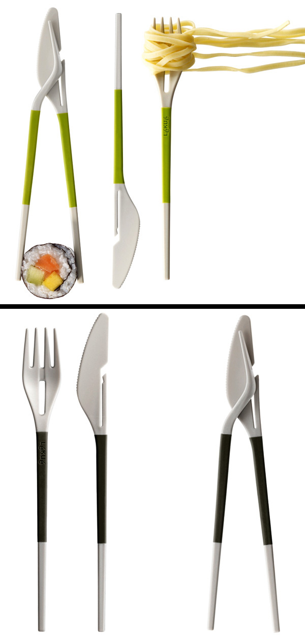 Twin One Cutlery and Chop Sticks Set