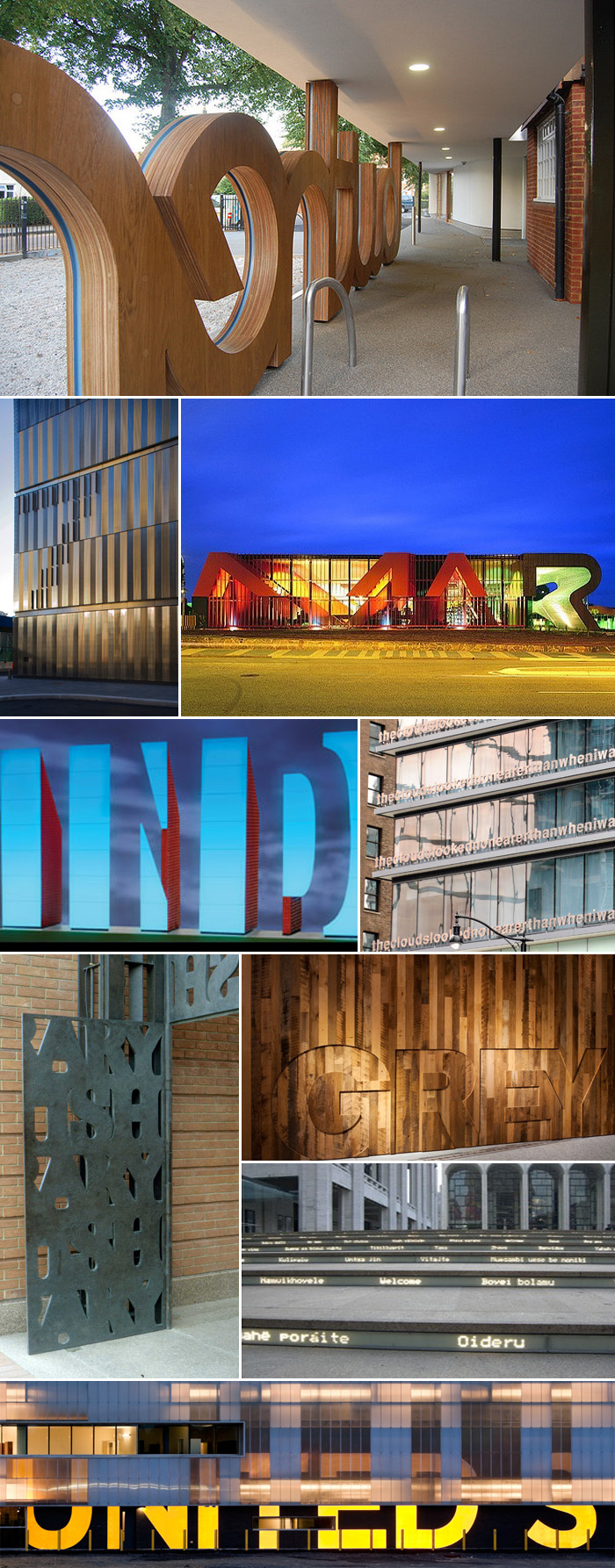 Typography in Architecture Multiple Examples