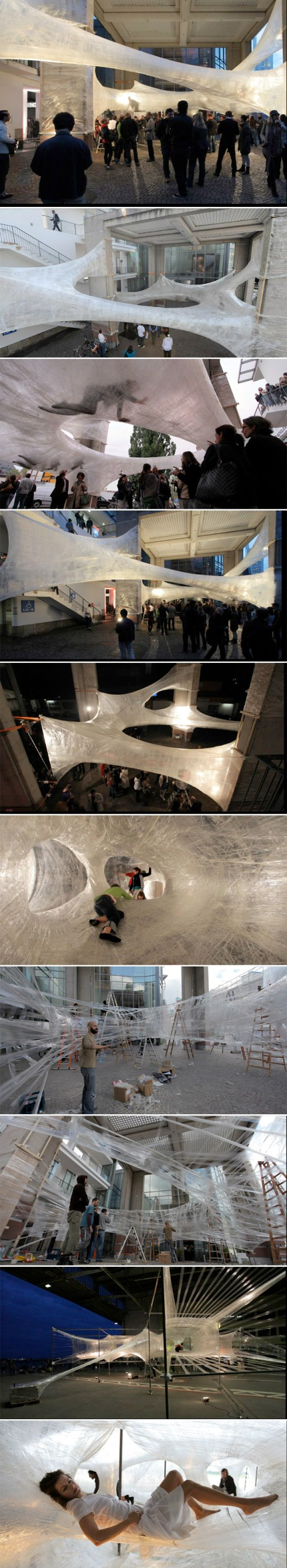 Cool packing tape installations, art, numen, Austria, Croatia