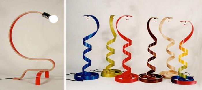 Lamp design, curved wood, sculpture lamps
