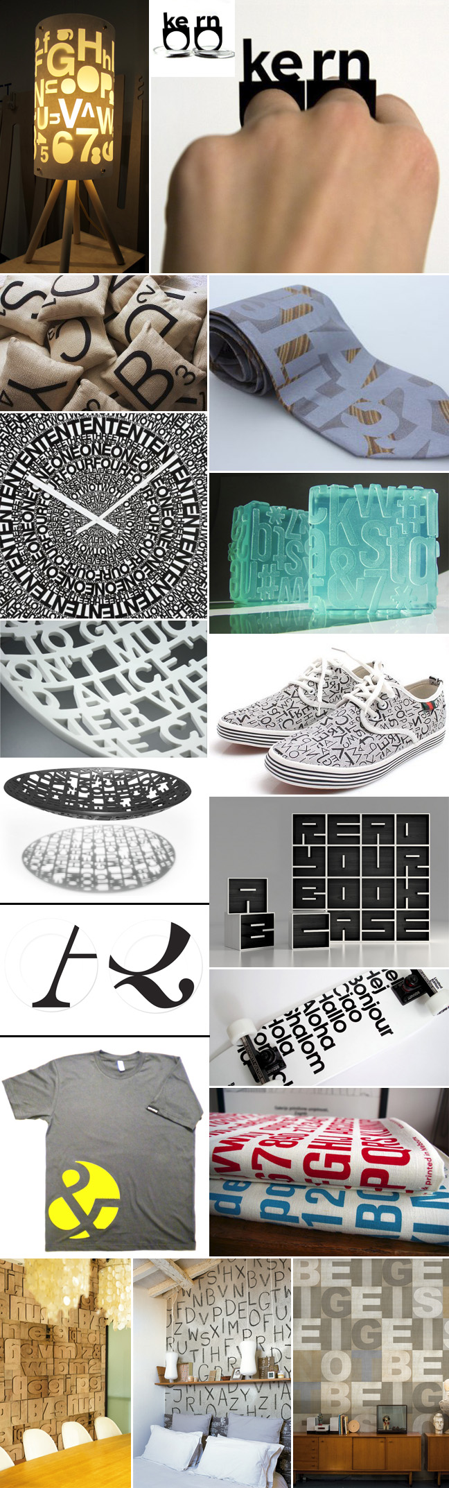 Type, Letters on objects, Typography