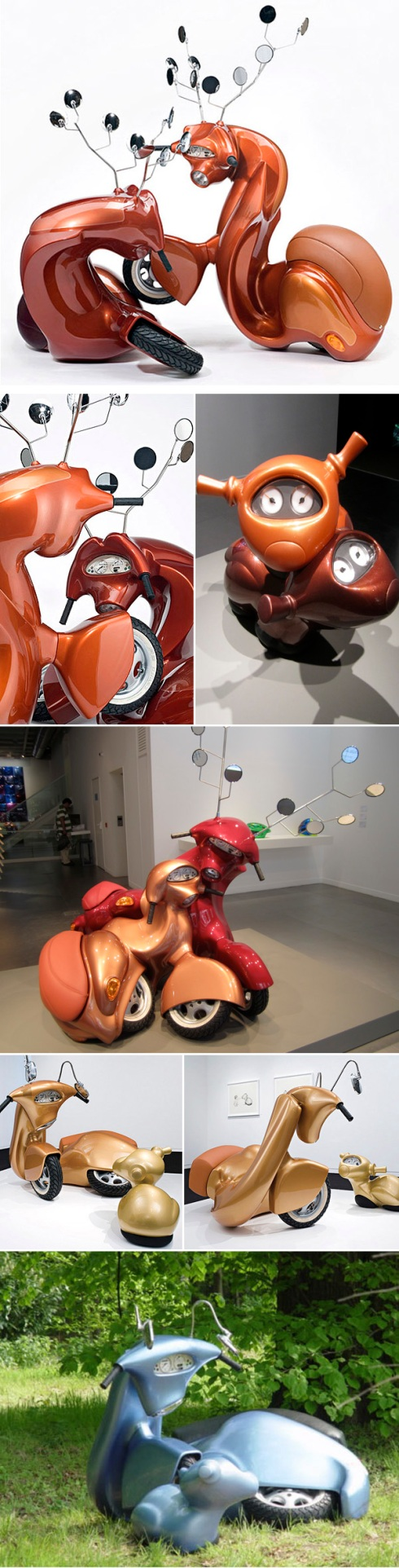 Contemporary art, vespas, creatures, sculpture