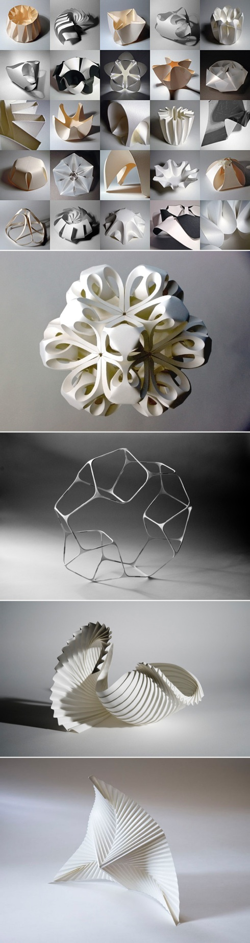 pleated paper sculptures, paper forms, art, contemporary