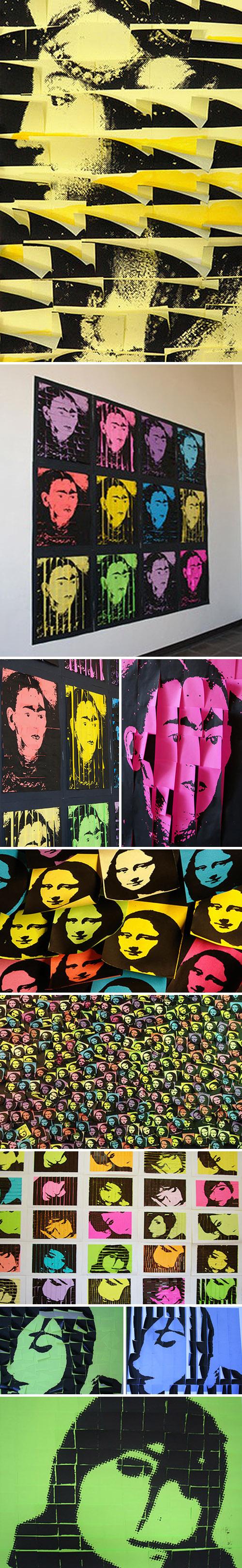 Post-it art, silk screen, pop art, Turkey, Mona Lisa, Frida Kahlo