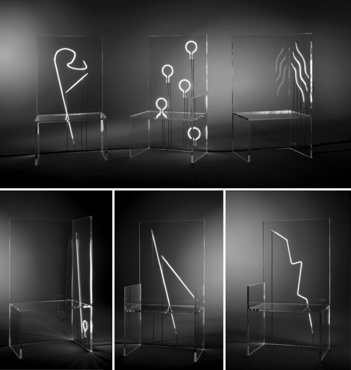 Robert Wilson, neon, Kartell, 7 Electric Chairs..As You Like It