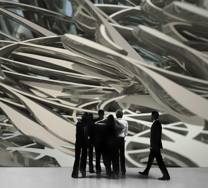 sculpture, music into space, digital, architectural facades, cool art