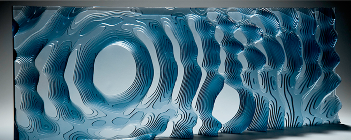 glass sculpture, rippled layered glass, malta design week