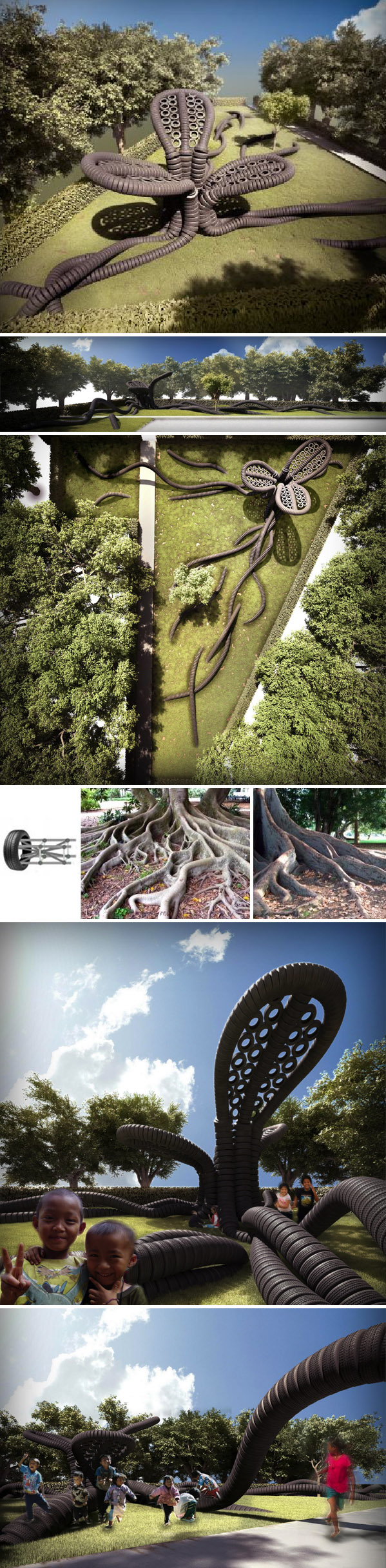 Tire Installation, playground, Thailand, Tree sculpture, refugees