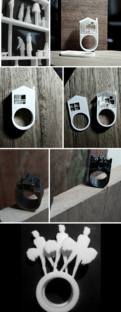 Perspex Brooches, Architecture jewelry, doll house, Australian design, laser cut rings