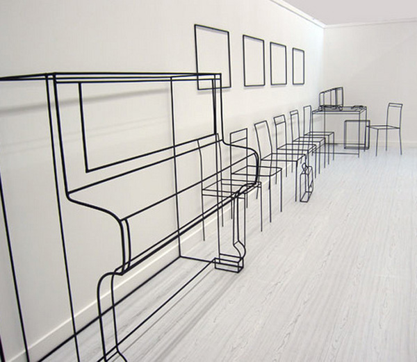 minimalist art, wire sculptures, Russian art, Moscow Gallery, collabcubed