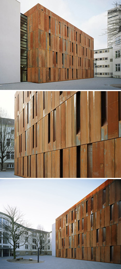 rusted facade building, Germany, weathered steel, Essen, collabcubed