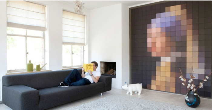 pixelated wall images, photo wall, modular photo system, ixxi