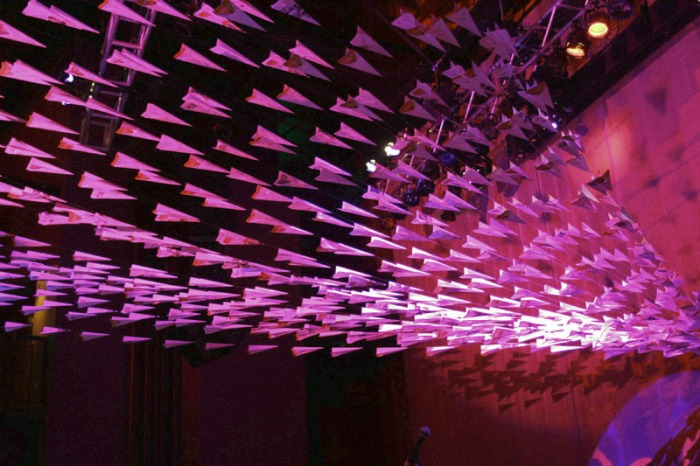 event installation, paper airplanes, EMP, Seattle, Boeing, party