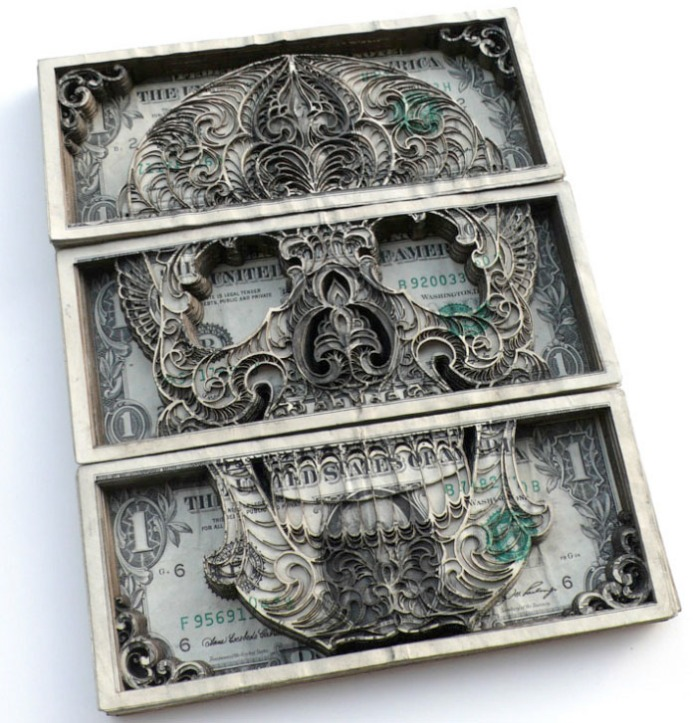 Currency art, tattoo art, skulls, dollars