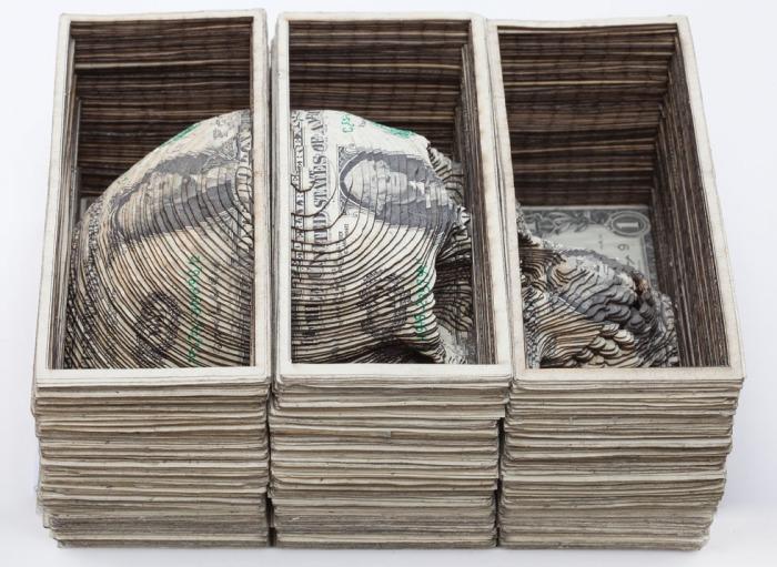 Currency art, tattoo art, skulls, dollars