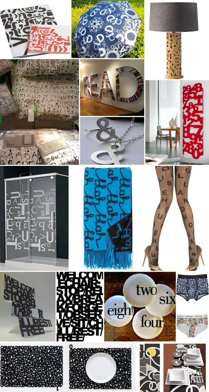 typography objects, letterforms, type on sheets, type on clothes, type jewelry, collabcubed