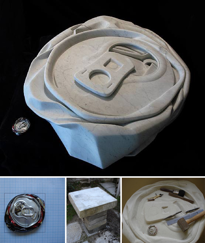 carrara marble, contemporary sculpture, crushed cans, everday objects