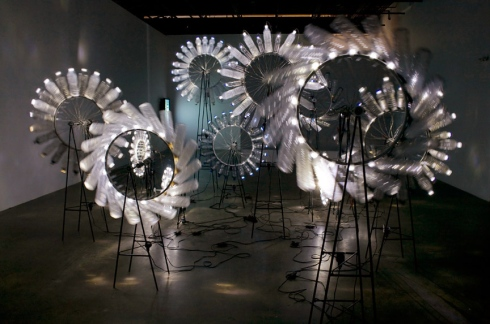 water bottle art, light, motion, installation, cool, Landry, Knight of Infinite Resignation