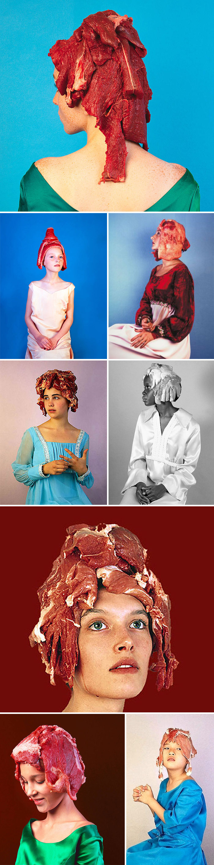 Meat wigs, mock renaissance portraits, fairies, kissina, photos, collabcubed