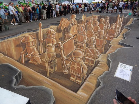 Amazing 3-d Chalk drawing, Lego, Sarasota, Leon Keer, Planet Streetpainting