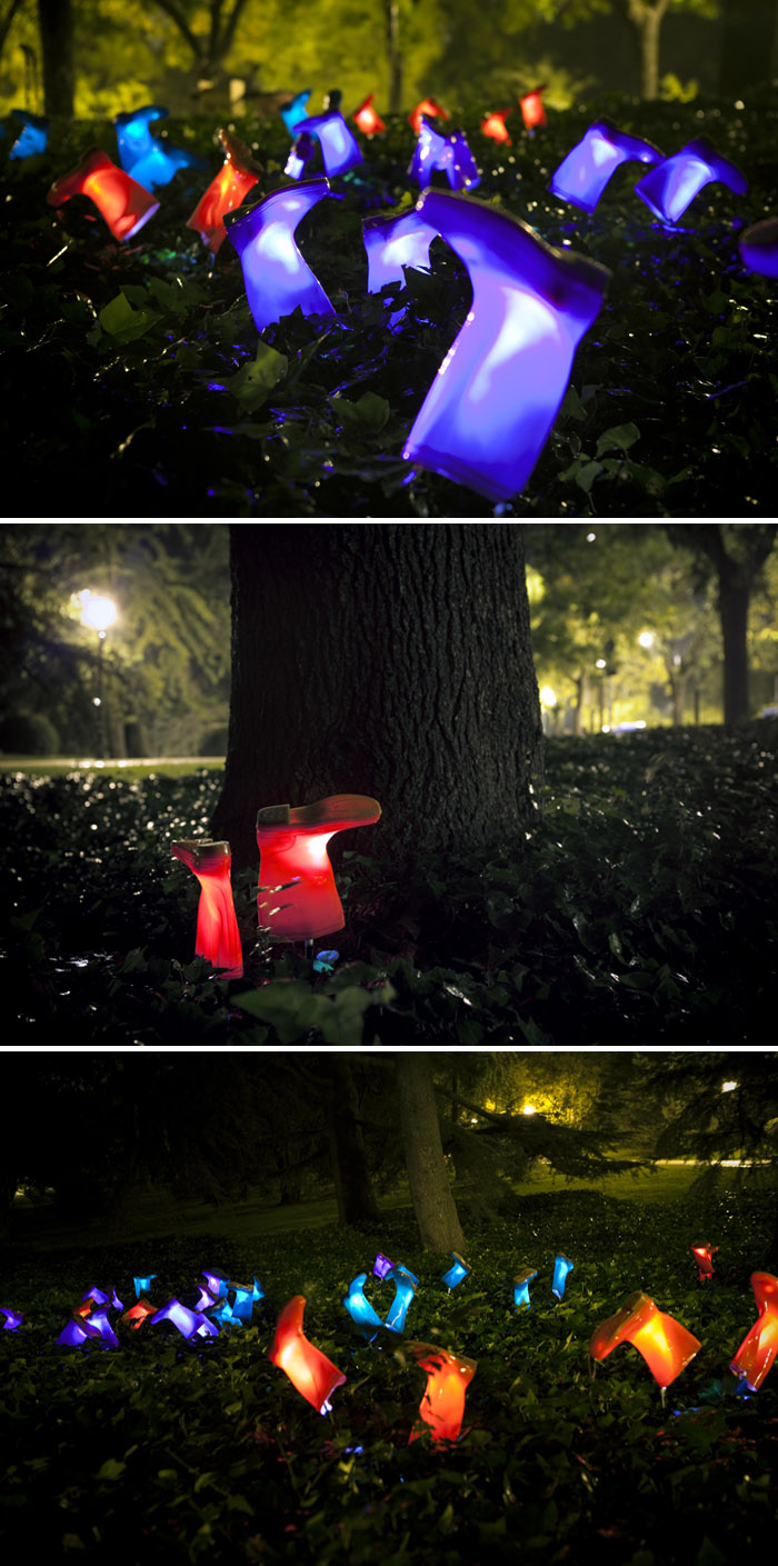 Light installation in Madrid, rainboots, tribute to rain, street intervention