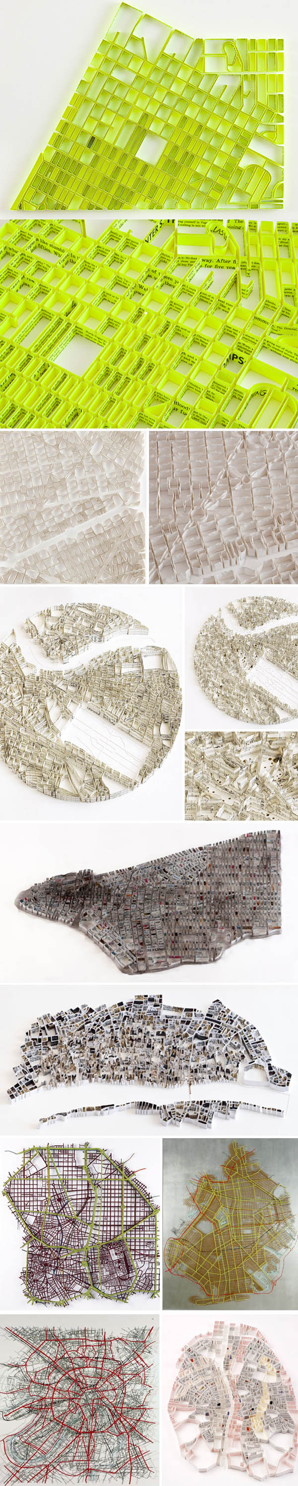 Maps, Map sculpture, maps made from folded book pages