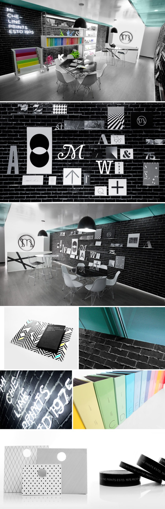 interior design, branding, print shop, Mexico, typography