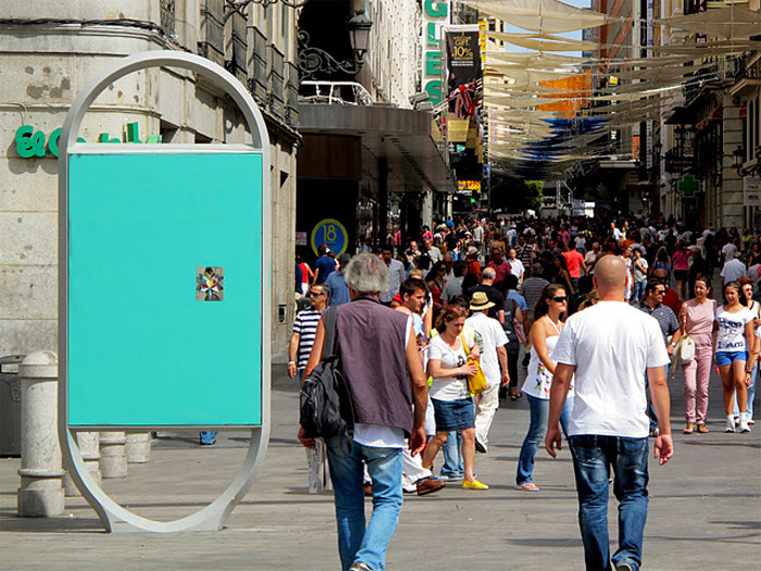 street art, graffiti, madrid, origami in ad space, paper sculpture street art