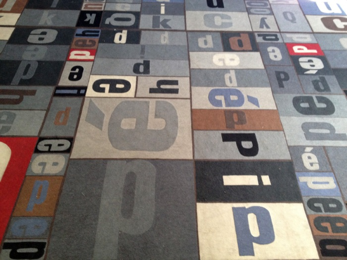 typography, type, rug, Brown University, Pembroke Hall, collabcubed