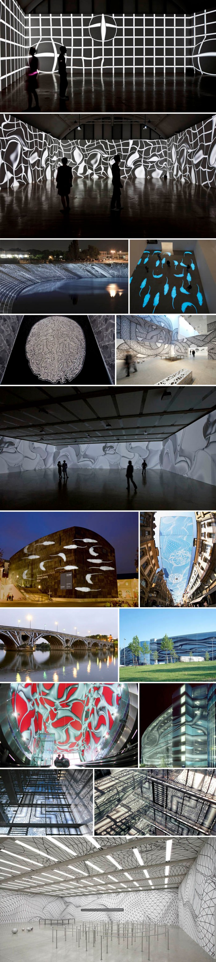 light projection mapping, cool installation art, graphic patterns