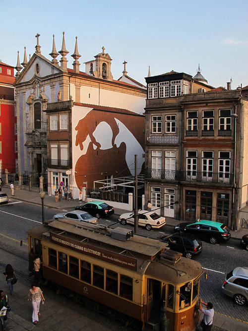 Spanish street art, graffiti, large murals, silhouettes, Sam3, collabcubed