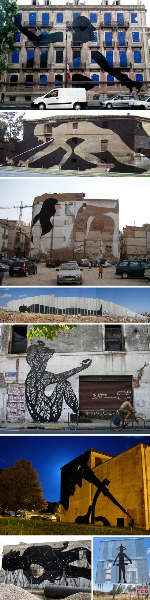 Spanish street art, graffiti, large murals, silhouettes, Sam3, collabcubed