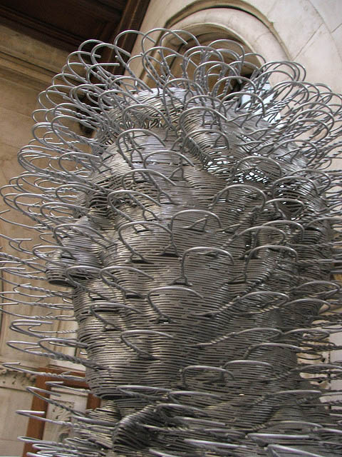cool sculptures made of wire coat hangers, David Mach, Scottish artist
