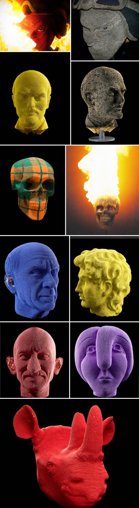 sculptures made of matches, sculptures that are lit and burned, heads made up of matches