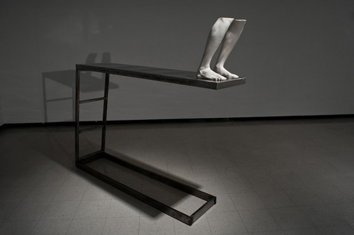 contemporary sculpture, limbs, divingboard, legs, casts, modern art