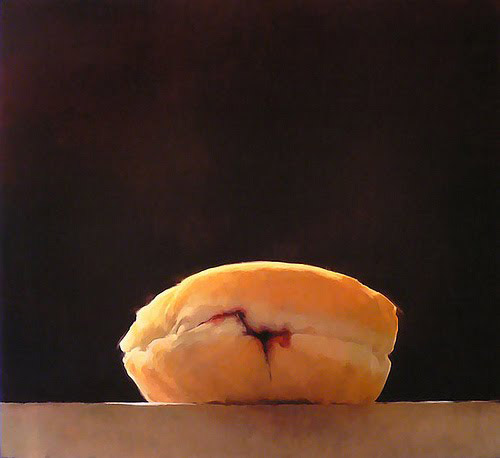 contemporary oil paintings of donuts, sensual, jelly donuts, doughnuts, Eveleth, collabcubed