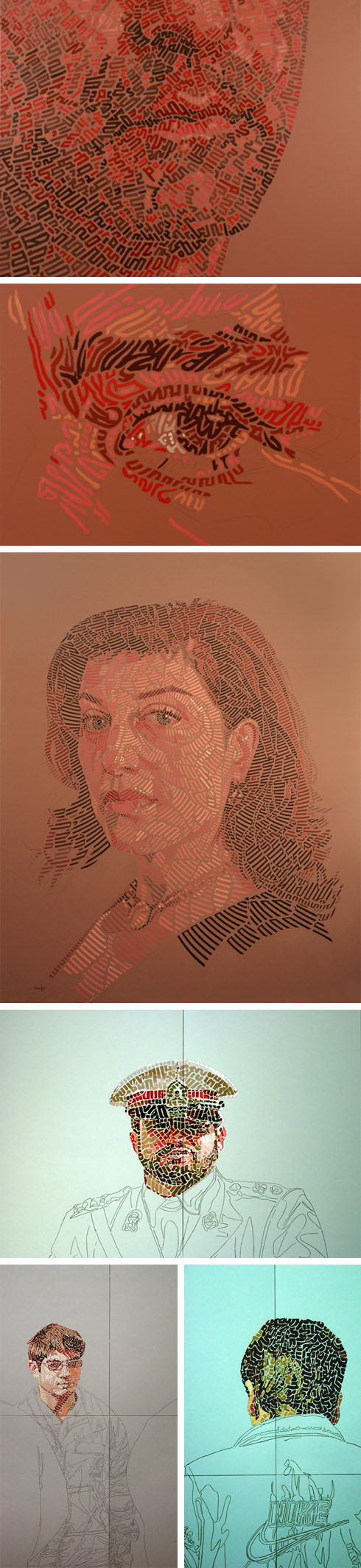 oil and pencil paintings, portraits, Persian Calligraphy, dissolution, figurative works