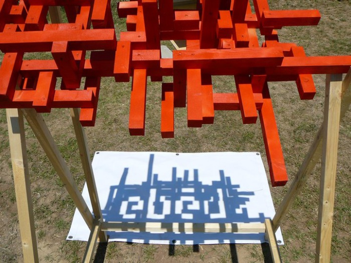 Wood Festival, Budapest, typography, type, lunch, shadow, sculpture