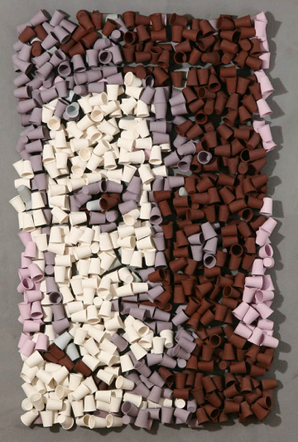 Portrait made of cups, cool art, contemporary sculpture