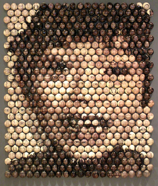 Portrait up of tiny photos, cool art, contemporary sculpture, collabcubed