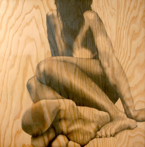 Pencil drawings, wood, nudes, Ferrera, collabcubed