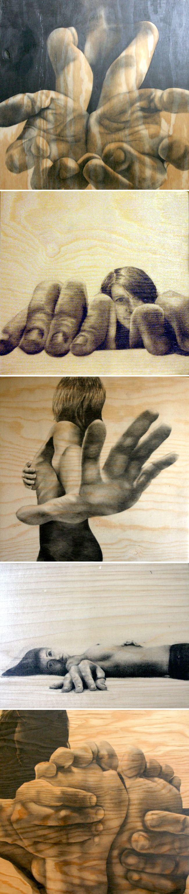 Pencil drawings, wood, nudes, hands, feet, Michelle Ferrera, collabcubed