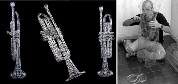 Wire sculpture, paperclip sculpture, trumpet, pietro d'angelo, Italian artist