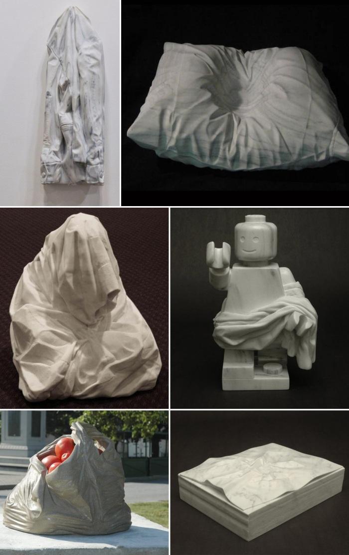 contemporary marble sculpture, Martorana, Baltimore artist, LEGO, pillow, shirt