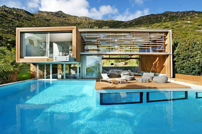 Guest house and entertainment center, spa, pool, contemporary architecture, Cape Town
