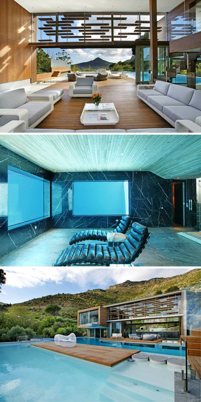 Guest house and entertainment center, cool underwater room, contemporary architecture
