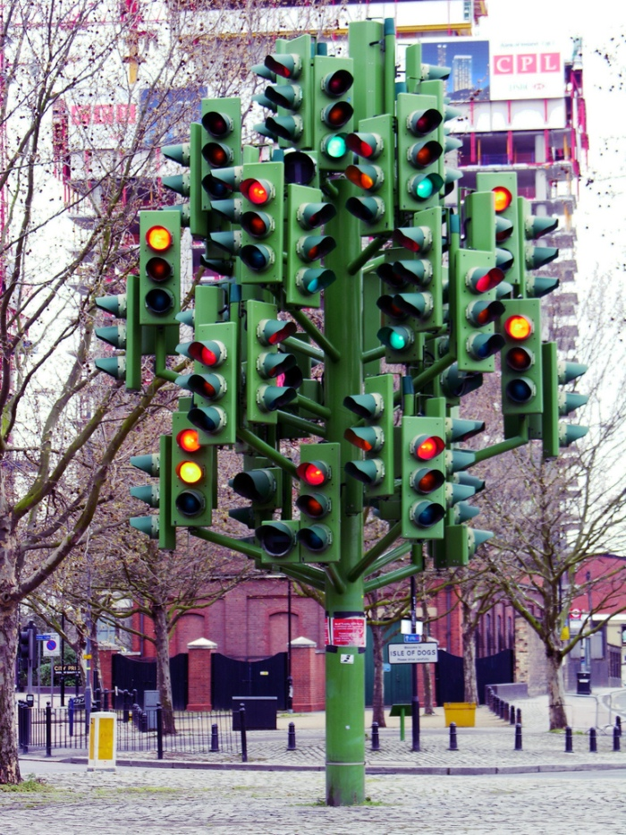 Traffic Light Tree by Pierre Vivant at Canary Wharf, London
