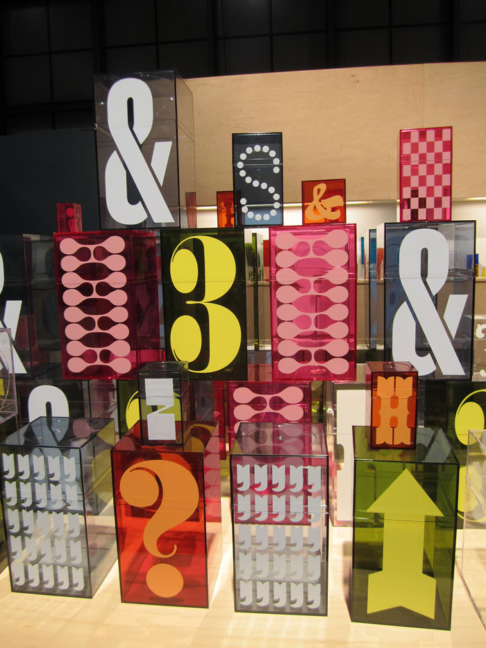 Typographic containers, boxes, House Industries, desk accessories