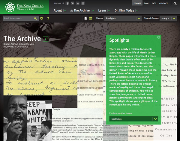 The King Center Imaging Project Website, C&G Partners, Martin Luther King, Jr.