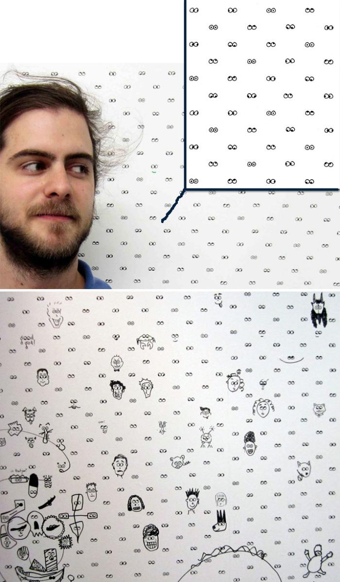 Fun wallpaper, draw on wallpaper, googley eyes, children's wallpaper, Cavern Home
